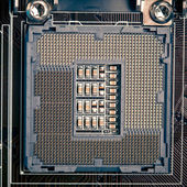 Cpu processor socket pins on motherboard — Stock Photo