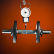 Scales measuring dumbbell - Foto de Stock