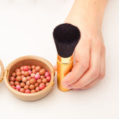 Makeup brush and rouge — Stock Photo