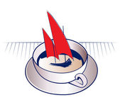Barco e caneca de café — Vetor de Stock