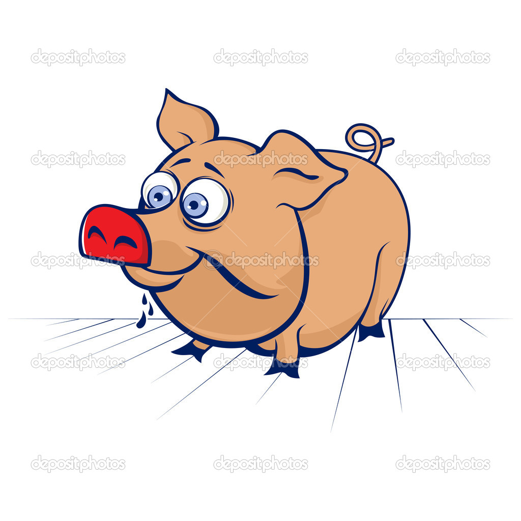 Cartoon funny pig in vector — Stock Vector #10211649