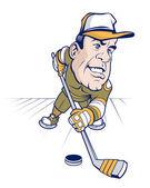Cartoon character hockey player — Stock Vector
