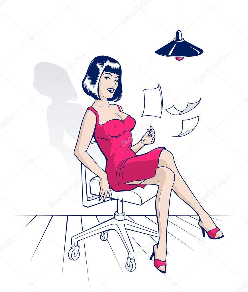 jeune femme assise sur une chaise de bureau et disperse les feuilles image vectorielle e. Black Bedroom Furniture Sets. Home Design Ideas