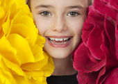 Happy Girl With Big Flowers — Stock Photo