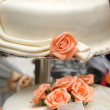 Wedding cake with roses — Stok fotoğraf