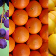 Fruits in a market,collage - Stock Photo