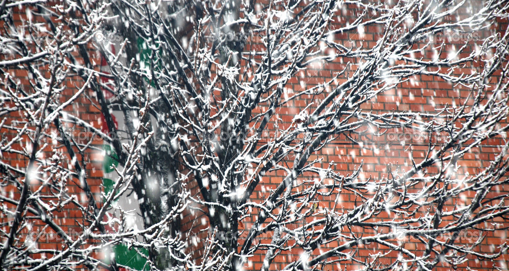 Snow on wall back — Stock Photo #9334463