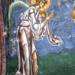 Archiangel gabriel,frescoe, kurbinovo — Stock Photo