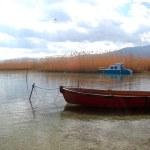 Boat in lake ohrid, macedonia — Stock Photo