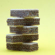 Fresh wafers on a yellow back — Stock Photo