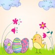 Cute Easter eggs and chicken illustration — Διανυσματικό Αρχείο