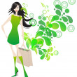 Elegant shopping girl — Stock Vector