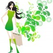 Elegant shopping girl — Stock Vector #10252567