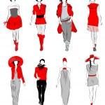 Stylized fashion models — Stock Vector