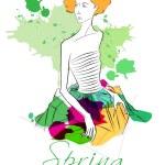 Elegant spring fashion girl — Stock Vector