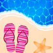Summer illustration with ocean, beach, flip-flops and starfish — 图库矢量图片