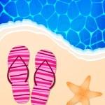 Summer illustration with ocean, beach, flip-flops and starfish — Stock Vector #10252836