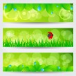 Set of beautiful green spring banners — Stock Vector #10252845