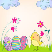 Cute Easter eggs and chicken illustration — Stock Vector