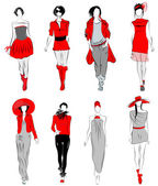 Stylized fashion models — Stok Vektör