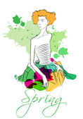 Elegant spring fashion girl — Stock Vector