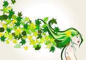 Cute spring girl — Stock Vector