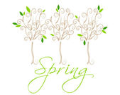 Beautiful spring floral trees illustration — Vettoriale Stock