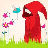 鳥とかわいい春の少女 — ストックベクタ