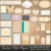 Scrapbooking, eski kağıt nesneleri ayarla — Stok Vektör