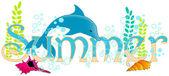 Cute summer underwater text — Stock Vector