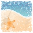Old photo by the seaside — Stock Vector