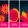 Beautiful floral price tag set — Stock Vector