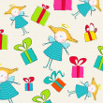 Ángeles lindos y cajas de regalo — Vector de stock