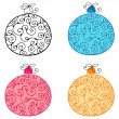 Set of cute, hand drawn style floral Christmas ornaments — Stock Vector