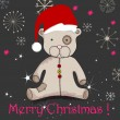 Cute hand drawn style Christmas teddy bear — ベクター素材ストック