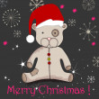Cute hand drawn style Christmas teddy bear — Stock vektor