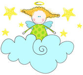 Cute angel sitting on cloud — Stock Vector