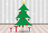 Cute Christmas tree and gift boxes — Stock Vector