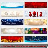 Banner set di bello, moderno web natale scintillante — Vettoriale Stock