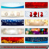 Set of beautiful, modern glittering Christmas web banners — Cтоковый вектор