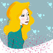 Cute winter girl illustration — Stock Vector