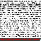 Set van 700 zeer gedetailleerde silhouetten — Stockvector