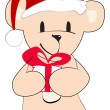Cute hand drawn style Christmas teddy bear — Stock Vector