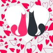 Cute cats in love — Imagen vectorial