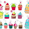 Stock Vector: Set of cute retro cupcakes