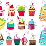 Set of cute retro cupcakes — Stock Vector