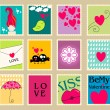 Set of cute Valentine - Stock Vector