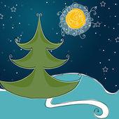 симпатичные зимняя ночь сцена — Cтоковый вектор