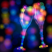 Elegant, glittering champagne glasses — Stock Vector