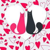 Cute cats in love — Stock Vector